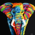 Jo Morris Paintings Colourful Elephant
