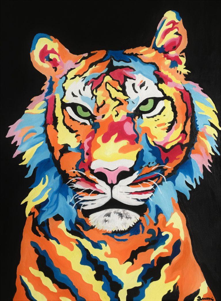 Jo Morris Paintings Colourful Tiger