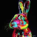 Jo morris paintings colourful rabbit